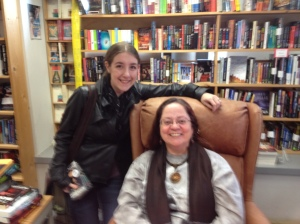 Meeting Patricia Briggs at Seattle Mystery Bookshop, photo taken by her husband, Mike.