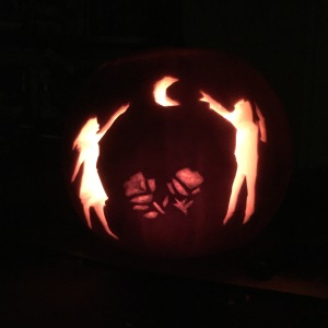 Carved pumpkin adapted from the cover of When the Moon Was Ours