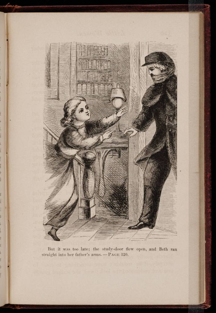 One of May Alcott's original illustrations for the first edition of Little Women, 1868